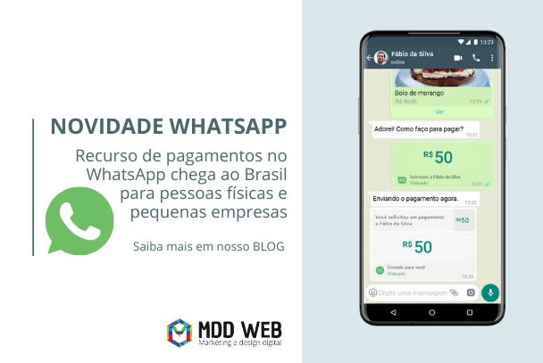 Recurso de pagamentos no WhatsApp chega ao Brasil para pessoas físicas e pequenas empresas.